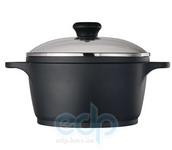 Vinzer - Кастрюля с крышкой (Cast Form Classic) - диаметр 24 см, 5,6 л, покрытие Teflon Platinum, крышка-стекло Pyrex (арт. 89403)