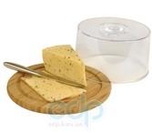 Vinzer (посуда) Vinzer -  Бамбуковая доска для сыра с пластиковой крышкой - диаметр 23 см (арт. 69927)