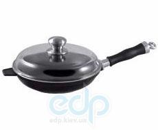 Vinzer (посуда) Vinzer -  Сковорода с крышкой CastForm UNIVERSAL - диаметр 26см, съемная ручка из нержавеющей стали, жаростойкое стекло Pyrex (арт. 69471)