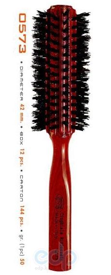3ME Maestri - Расческа с деревянной ручкой из бука с усиленной щетиной кабана Rigata диаметр 42mm