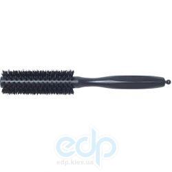 3ME Maestri - Расческа с резиновой ручкой с усиленной щетиной кабана черная Soft Touch диаметр 34 mm