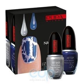 Pupa - Nail Art Kit №907 Silver&Blue - Набор лаков для ногтей (Лак Art Base 02 Серебрянный 5 ml + Лак Art Top 04 Темно-синий 5 ml)