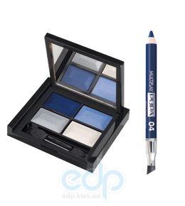 Pupa - Smoky Eyes Kit Синий - Набор для макияжа (Тени для век 4-цветные 4Eyes Palette Ombretti Multiuso 24 6 g + Карандаш Multiplay 04 Ярко-голубой 0.8 g)
