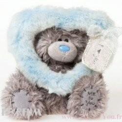 Teddy MTY (мишки) Игрушка плюшевая MTY (Me To You) -  мишка смотрит сквозь голубое сердце 17 см (арт. G01W2002)