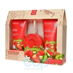 Grace Cole - Набор для тела Strawberry Surprise (гель для душа очищающий, освежающий 150 ml + лосьон для тела увлажняющий, питательный 150 ml + мыло для тела 100 g) с ароматом клубники и киви
