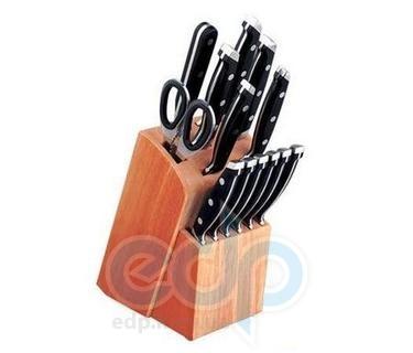 Vinzer (посуда) Vinzer -  Набор ножей CLASSIC (New) - 14 предметов, кованые ручки, деревянная подставка (арт. 69112)