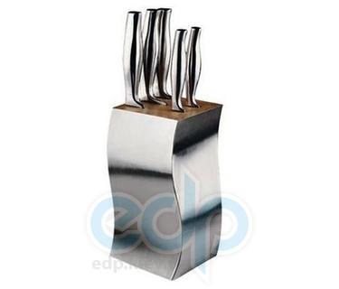 Vinzer (посуда) Vinzer -  Набор ножей Prismus - 6 предметов, подставка комбинированная дерево - нержавеющая сталь (арт. 69121)