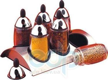 Vinzer (посуда) Vinzer -  Набор для специй - 6 емк, для специй из акрила, подставка из нерж, стали (арт. 69274)