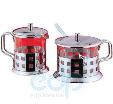 Vinzer (посуда) Vinzer -  Молочник и сахарница - нержавеющая сталь, стекло Pyrex (арт. 69355)