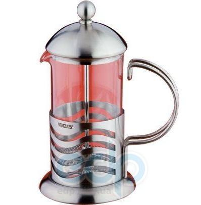 Vinzer (посуда) Vinzer -  Кофейник/Заварник Wave - нержавеющая сталь, стекло Pyrex, 350 мл (арт. 69369)
