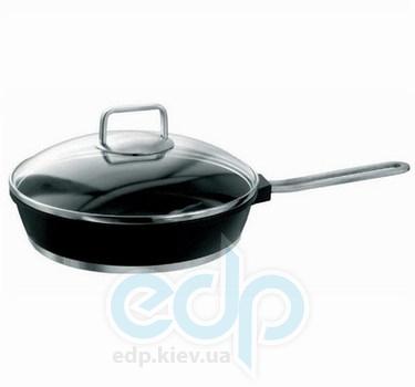 Vinzer (посуда) Vinzer -  Сковорода с крышкой (Cast Form Ferro Line) - диаметр 24см, покрытие Teflon Platinum, крышка-стекло Pyrex (арт. 69433)