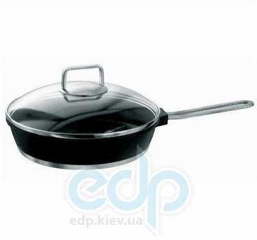 Vinzer (посуда) Vinzer -  Сковорода с крышкой (Cast Form Ferro Line) - диаметр 26см, покрытие Teflon Platinum, крышка-стекло Pyrex (арт. 69434)