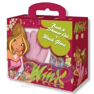 Admiranda Winx Club -  Набор Flora (гель для душа черная смородина и белая роза 300 + мочалка-перчатка 2шт) (арт. AM 76080-2)