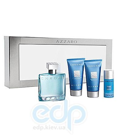 Azzaro Chrome -  Набор (туалетная вода 50 + гель для душа 50 + лосьон-молочко для тела 30 + дезодорант стик 75)