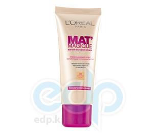 Тональный крем для лица матирующий, устойчивый L'Oreal - Mat Magique №02 Ванильный розовый - 25 ml