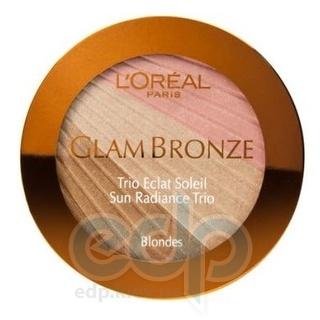 Пудра для лица компактная L'Oreal - Glam Bronze Sun Radiance Trio №201 Blondes