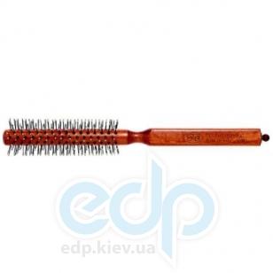 3ME Maestri - Расческа с деревянной ручкой из бука с разделителем професиональный нейлон с термовыдержкой и чашечками белая Champion диаметр 30 mm