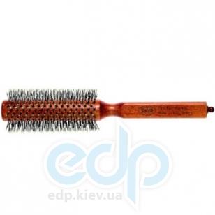 3ME Maestri - Расческа с деревянной ручкой из бука с разделителем професиональный нейлон с термовыдержкой и чашечками коричневая Champion диаметр 45 mm
