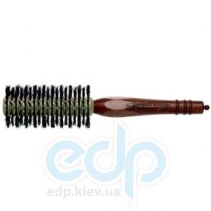 3ME Maestri - Расческа с деревянной ручкой из котибе и граба с разделителем с щетиной кабана разной длинны Progress диаметр 50 mm