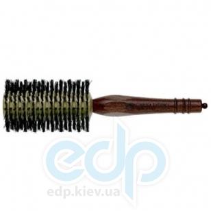 3ME Maestri - Расческа с деревянной ручкой из котибе и граба с разделителем с щетиной кабана разной длинны Progress диаметр 60 mm