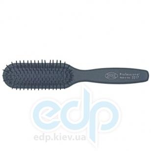 3ME Maestri - Расческа пневматическая с деревянной ручкой покрытой резиной большая прямоугольная с платиковыми штифтами черная Soft Touch