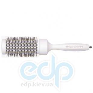 3ME Maestri - Расческа термическая с резиновой ручкой с професиональной аллюминиевой трубкой белая Soft Touch диаметр 60 mm