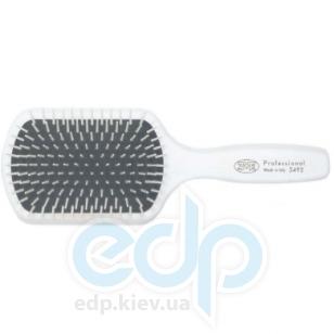 3ME Maestri - Расческа пневматическая с деревянной ручкой покрытой резиной большая прямоугольная с платиковыми штифтами белая Soft Touch