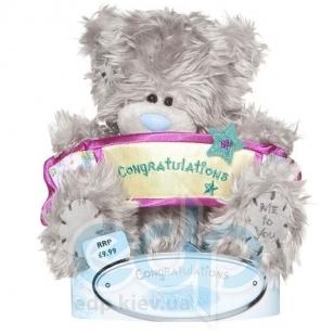 Teddy MTY (мишки) Игрушка плюшевый мишка MTY (Me To You) -  с плакатом Congratulations 15 см (арт. G01W1064)