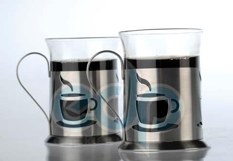 Berghoff Cook&Co (посуда) COOK and Co (от Berghoff) -  Набор из двух стеклянных чашек в метал. подставках (арт. 2800157)