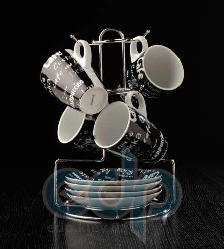 Berghoff Cook&Co (посуда) COOK and Co (от Berghoff) -  Набор из 4 чашек с блюдцами на подставке (арт. 2800232)
