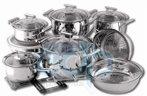 Vinzer (посуда) Vinzer -  Набор посуды CULINAIRE - 16 предметов, термоаккумулирующее дно, стеклянная крышка, (арт. 69031)