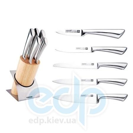 Vinzer (посуда) Vinzer -  Набор ножей ARCTIC - 6 предметов, стальная ручка, деревянная подставка (арт. 89113)