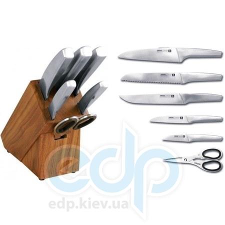Vinzer (посуда) Vinzer -  Набор ножей Hunter - 7 предметов, стальная ручка, подставка из дерева (арт. 69131)