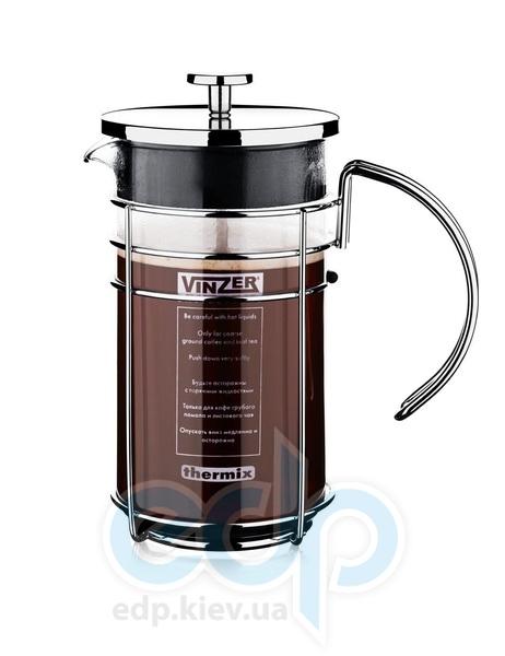 Vinzer - Кофейник / Заварник для чая - стекло Thermix, нержавеющая сталь, 1000 мл (арт. 89383)