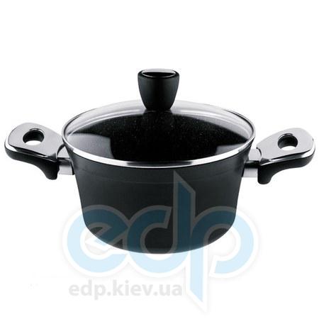 Vinzer (посуда) Vinzer -  Кастрюля с крышкой с керамическим покрытием Granite Induction Line - объем 4,8л .Диаметр  24 см (арт. 89440)