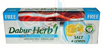 Dabur - Отбеливающая зубная паста з солью и лимоном - 150 гр + зубная щетка в подарок