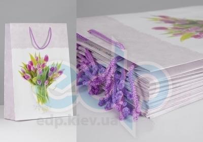Пакет бумажный Sabona - Тюльпаны с тесьмой - 39x27.5x10
