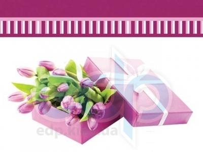Пакет бумажный горизонтальный Sabona - Тюльпаны в коробке 24,5x35x10