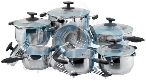 Vinzer (посуда) Vinzer -  Набор посуды ORION - 14 предметов, термоаккумулирующее дно, комб, крышка (стекло – металл) (арт. 69022)