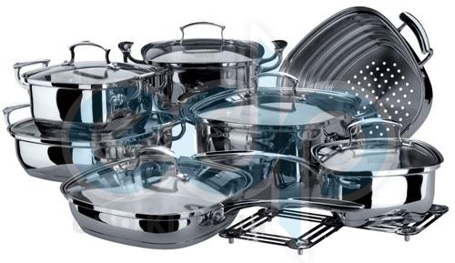 Vinzer (посуда) Vinzer -  Набор посуды KITCHEN ART - 14 предметов, термоаккумулирующее дно, стеклянная крышка, (арт. 69029)