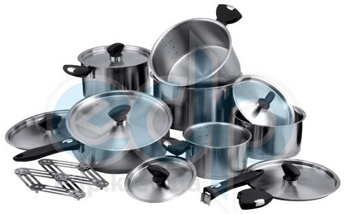 Vinzer (посуда) Vinzer -  Набор посуды COMFORT - 19 предметов, термоаккум, дно, съемные ручки, мерные деления (арт. 69034)