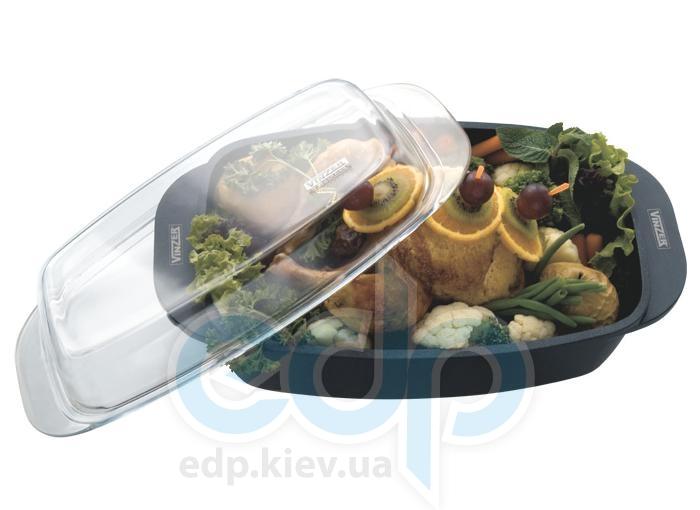 Vinzer - Гусятница с антипригарным покрытием - 32 см, 8 л, покрытие Teflon Platinum, крышка-стекло Pyrex (арт. 89421)