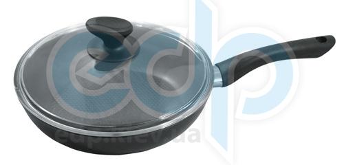Vinzer (посуда) Vinzer -  Сковорода с крышкой Ultra Line, 24cm - диаметр 24см, покрытие Teflon Platinum, рифленое дно, крышка-стекло Pyrex (арт. 69442)