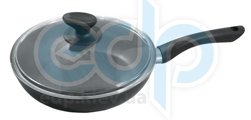 Vinzer (посуда) Vinzer -  Сковорода с крышкой Ultra Line, 26cm - диаметр 26см, покрытие Teflon Platinum, рифленое дно, крышка-стекло Pyrex (арт. 69443)