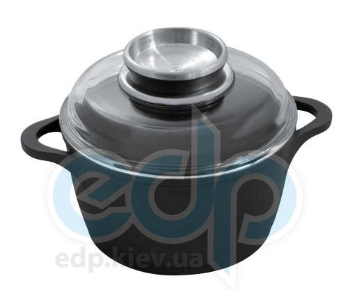 Vinzer (посуда) Vinzer -  Кастрюля с крышкой (Aroma Line) - диаметр 24см, 5,6л, покрытие Teflon Platinum, крышка-стекло Pyrex (арт. 69477)
