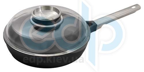 Vinzer (посуда) Vinzer -  Сковорода с крышкой (Aroma Line) - диаметр 22см, покрытие Teflon Platinum, крышка-стекло Pyrex (арт. 69478)
