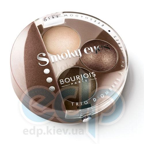 Тени для век 3-цветные компактные Bourjois - Smoky Eyes №04 Коричнево-бежевый - 4.5 g