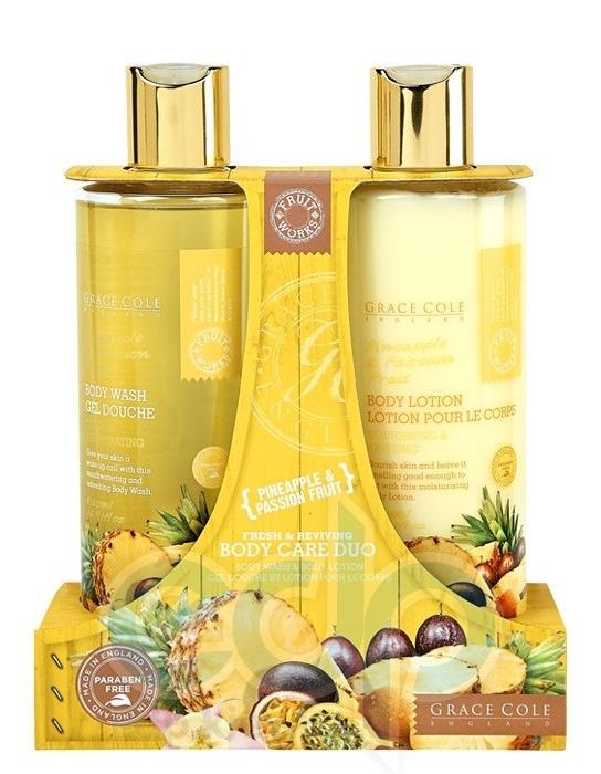 Grace Cole - Набор для тела Body Care Duo Pineapple & Passion Fruit (гель для душа очищающий, освежающий 500 ml + лосьон для тела увлажняющий, питательный 500 ml)
