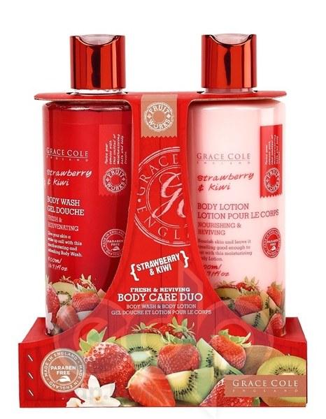 Grace Cole - Набор для ухода за кожей рук Hand Care Duo Strawberry & Kiwi (мыло для рук жидкое, очищающее, освежающее 500 ml + лосьон для рук и ногтей питательный, успокаивающий 500 ml)