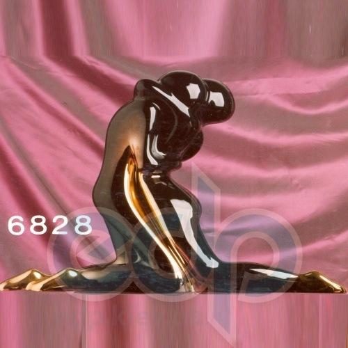 Galos (статуэтки) Статуэтки Galos (Испания) - Черная Мини Омега - 20 x 18 см. (фарфор, покрытие платиной, золотом)